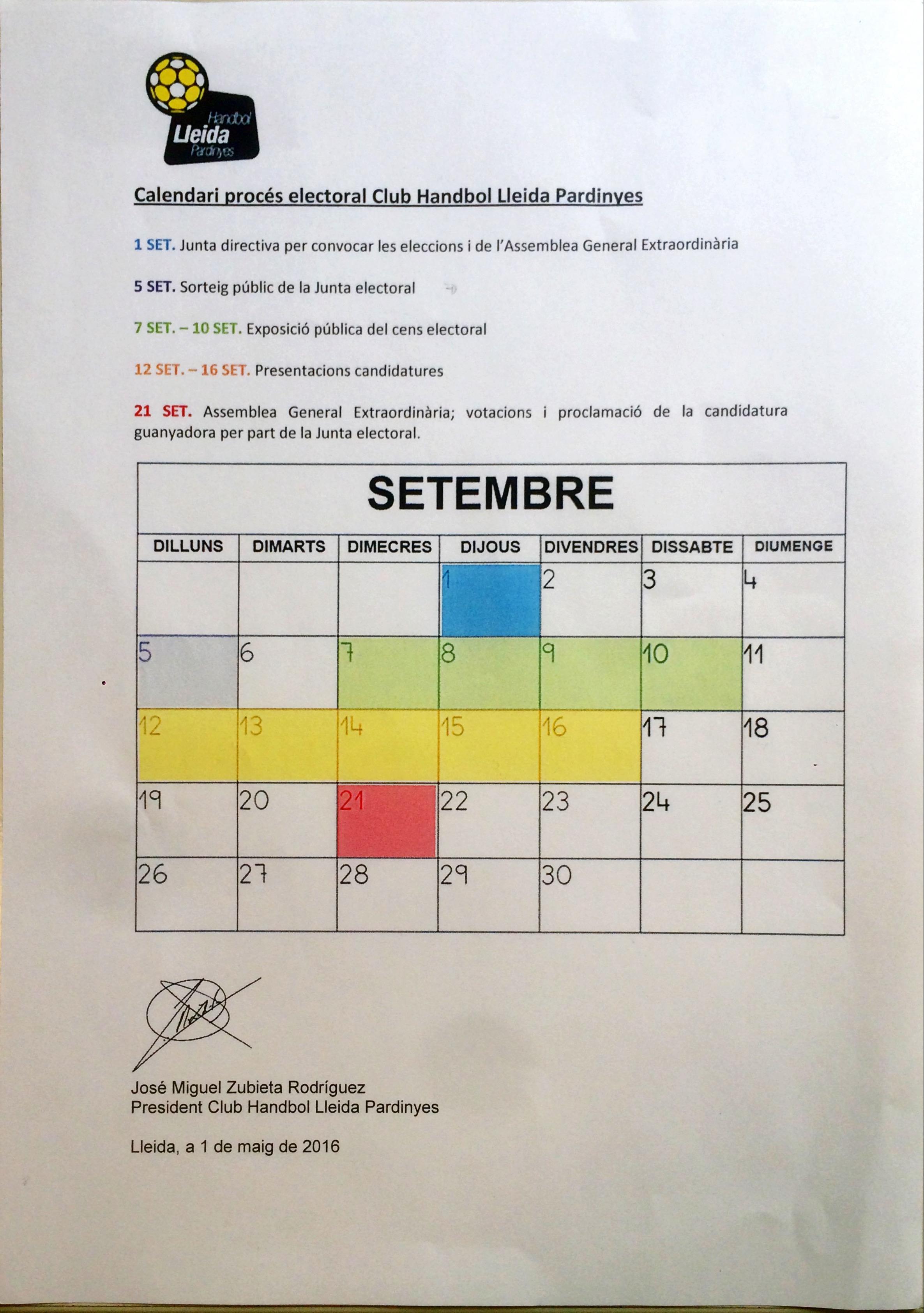 Calendari electoral Handbol Lleida Pardinyes